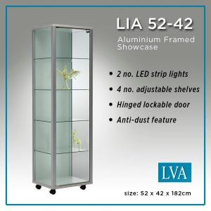 LIA 52-42 Floor cabinet aluminum framed glass anti-dust lit.