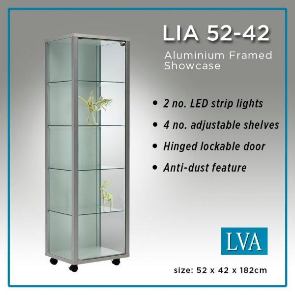 LIA 52-42 Floor cabinet aluminum framed glass anti-dust lit. 1