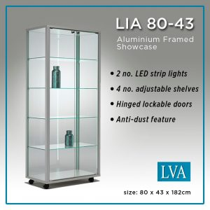 LIA 80-43 Floor Display Cabinet Aluminum framed glass anti-dust lit
