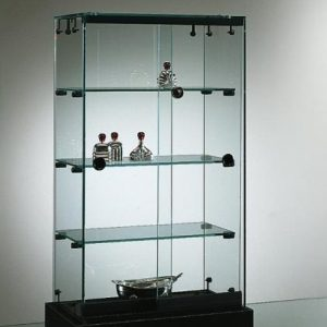 S15 Counter top 3 shelf glass display lockable unit with base