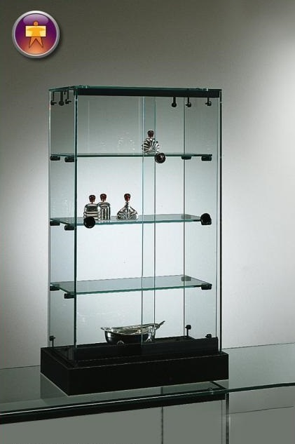 S15 Counter top 3 shelf glass display lockable unit with base 1