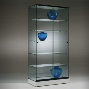 S6 Base Nova Frameless glass display cabinet with 5no. shelves lockable sliding doors and base.
