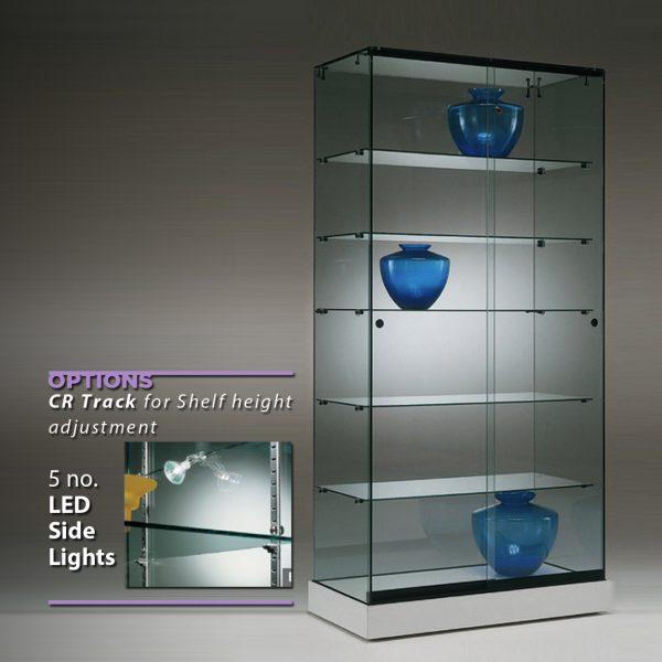 S6 Base Nova Frameless glass display cabinet with 5no. shelves lockable sliding doors and base. 2