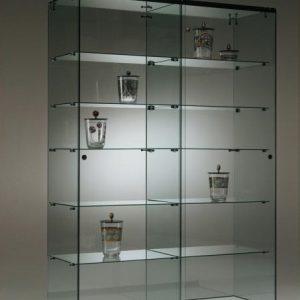 S7 Base Nova Double glass cabinet 125cm with 5no. glass shelves lockable sliding doors on castor base