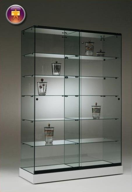 S7 Base Nova Double glass cabinet 125cm with 5no. glass shelves lockable sliding doors on castor base 1